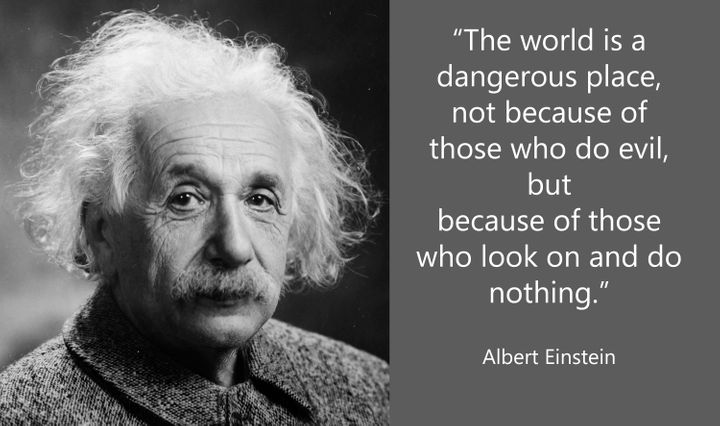 """""""The World is a dangerous place, not because of those who do evil, but because of those who look on and do nothing."""" ~Albert"""