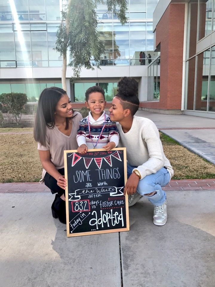 Dezhianna Brown, one of Michael's adoptive sisters, shared photos (including this one) of his adoption day on Twitter. As of Thursday, the tweet has been liked more than 126,000 times.