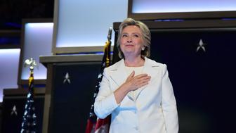 Hillary Clinton accepts the nomination on the final night of the Democratic National Convention at the Wells Fargo Center, July 28, 2016 in Philadelphia, Pennsylvania.    / AFP / Robyn Beck        (Photo credit should read ROBYN BECK/AFP/Getty Images)