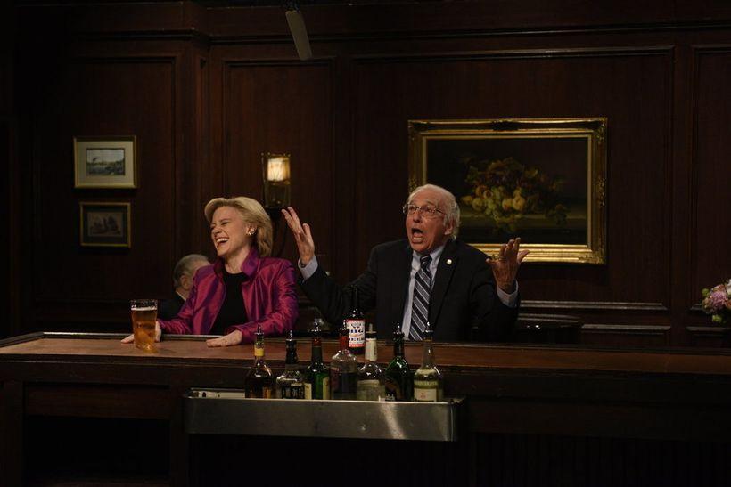 Kate McKinnon and Larry David on <em>Saturday Night Live</em>.
