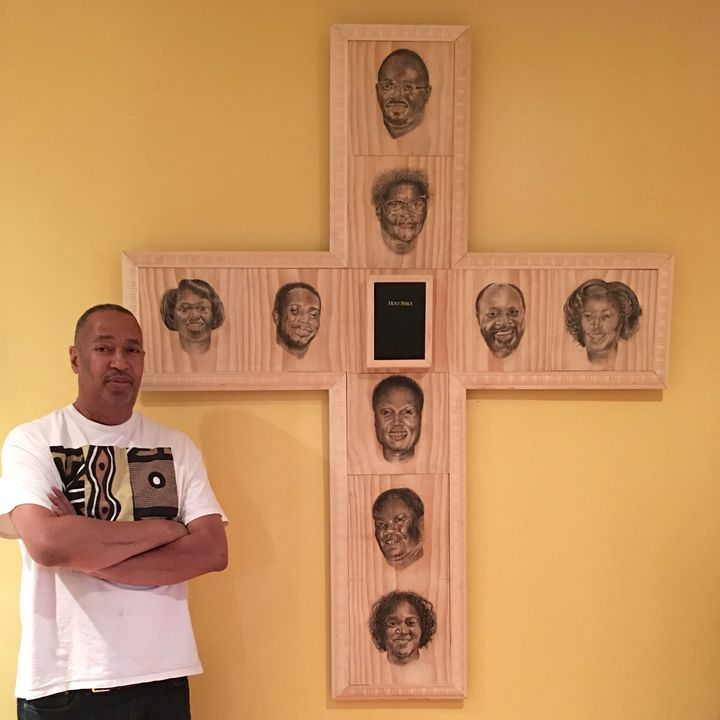 This largewooden crossis dedicated to the victims of theCharleston, South Carolina, church shooting.
