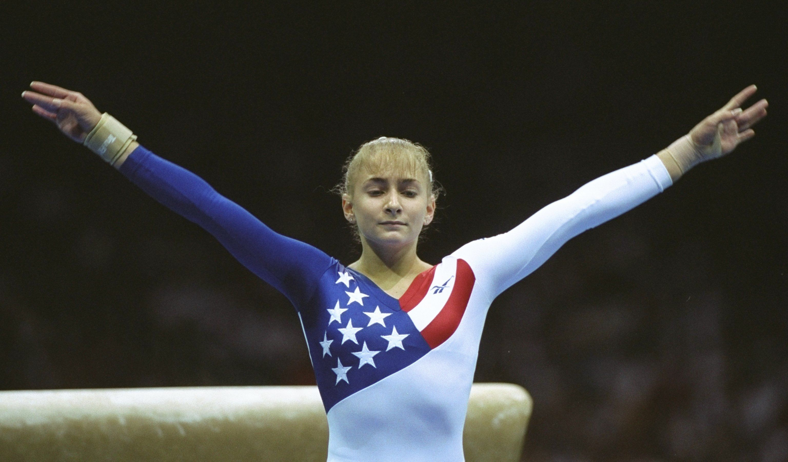 23 Jul 1996: Shannon Miller of the USA in action during the womens team gymnastics at the Georgia Dome at the 1996 Centennial Olympic Games in Atlanta, Georgia. Mandatory Credit: Mike Powell  /Allsport