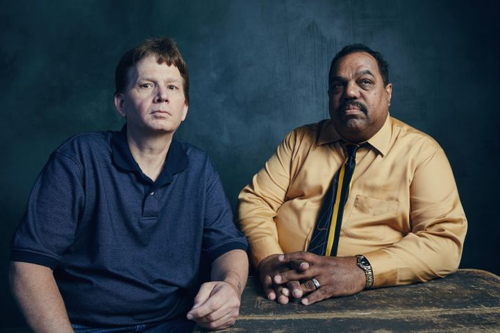 "Daryl Davis (right) with friend and former Klan grand dragon, Scott Shephard, at SXSW promoting ""Accidental Courtesy.&r"
