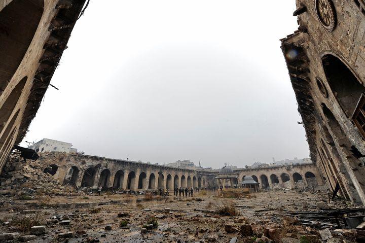 Aleppo's Umayyad mosque following Syrian President Bashar Assad's capture of the city.
