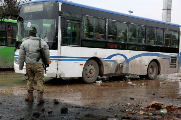 Evacuated civilians, fled from East Aleppo, had been under siege by Assad regime forces and its supporter...