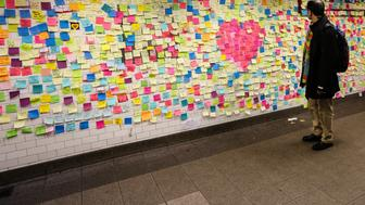 NEW YORK, UNITED STATES - NOVEMBER 16:  A view of the 'Subway Therapy' a space created by artist Matthew Chavez in a subway tunnel under 14th Street where people can express themselves in Post-It notes on November 16, 2016 in New York, United States. The space has been used by people as an space to express ideas and thoughts after Donald Trump's victory on the Presidential Elections. (Photo by Vanessa Carvalho/Brazil Photo Press/LatinContent/Getty Images)
