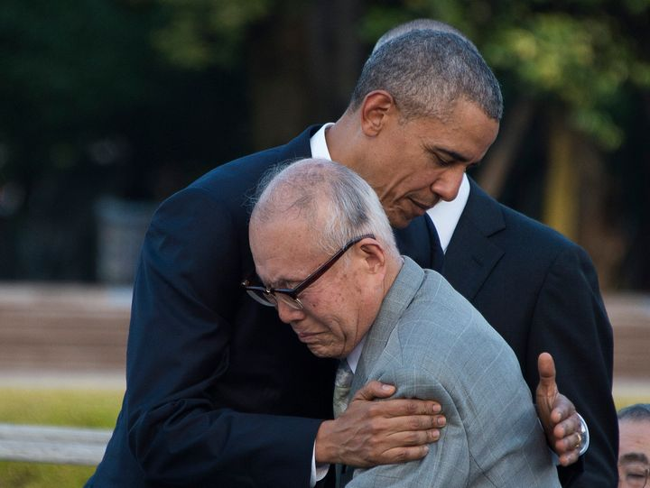U.S. President Barack Obama hugs a survivor of the 1945 atomic bombing of Hiroshima, during a visit to the Hiroshima Peace Memorial Park on May 27.