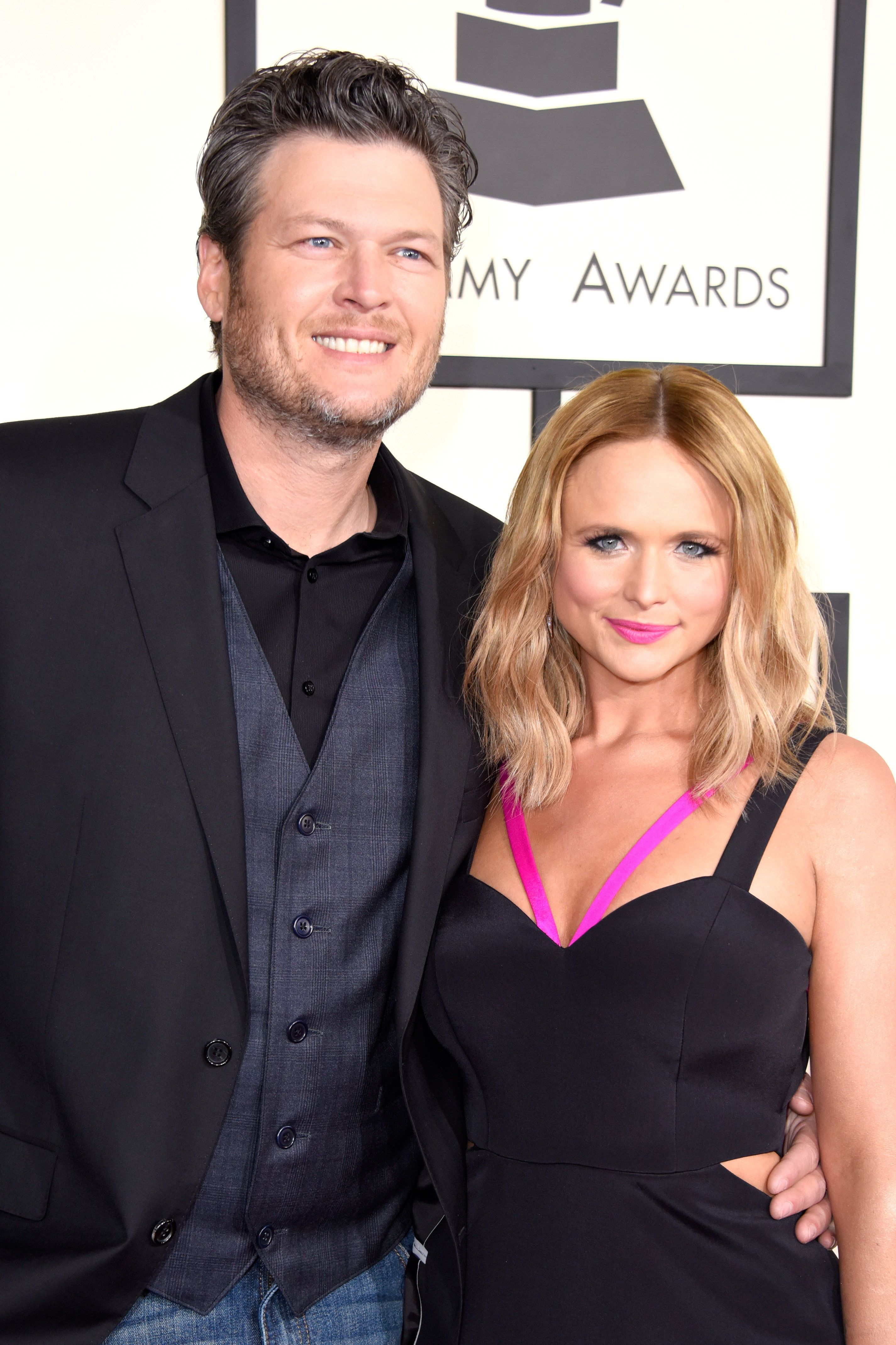 LOS ANGELES, CA - FEBRUARY 08:  Recording artists Blake Shelton (L) and Miranda Lambert attend The 57th Annual GRAMMY Awards at the STAPLES Center on February 8, 2015 in Los Angeles, California.  (Photo by Jeff Vespa/WireImage)