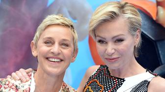 LONDON, ENGLAND - JULY 10:  Ellen DeGeneres and Portia de Rossi attend the UK Premiere of 'Finding Dory' at Odeon Leicester Square on July 10, 2016 in London, England.  (Photo by Anthony Harvey/Getty Images)