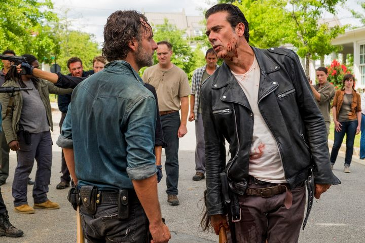 Rick and Negan have a discussion over policy.