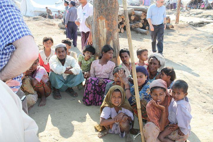 Displaced Rohingya people in Rakhine State of Myanmar