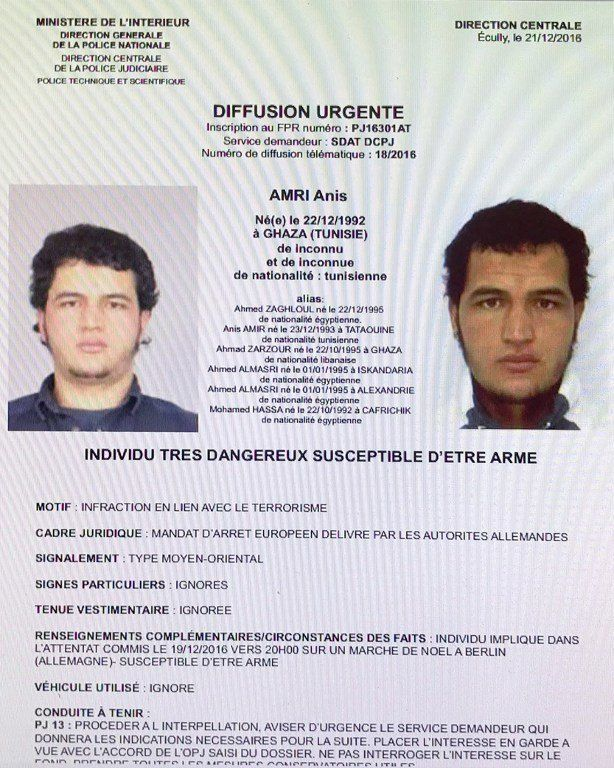 This handout computer screen grab shows a copy of the arrest warrant over a Tunisian man identified as...