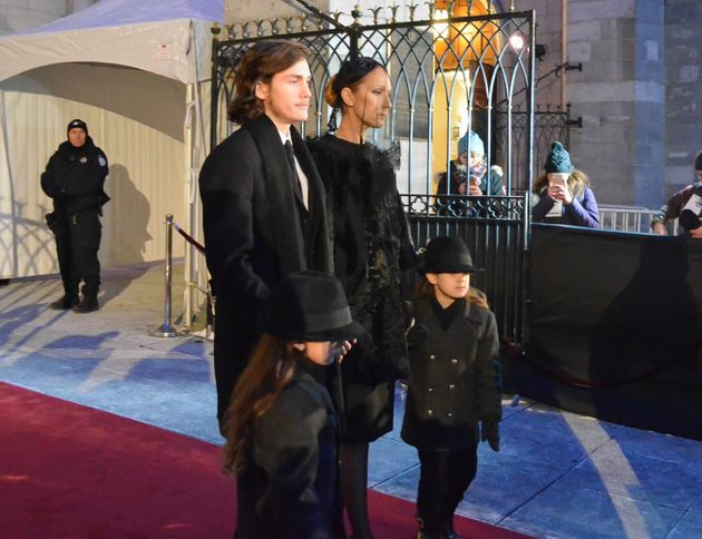 Celine was supported at her husband's funeral by her three sons, Rene-Charles and twins Nelson and