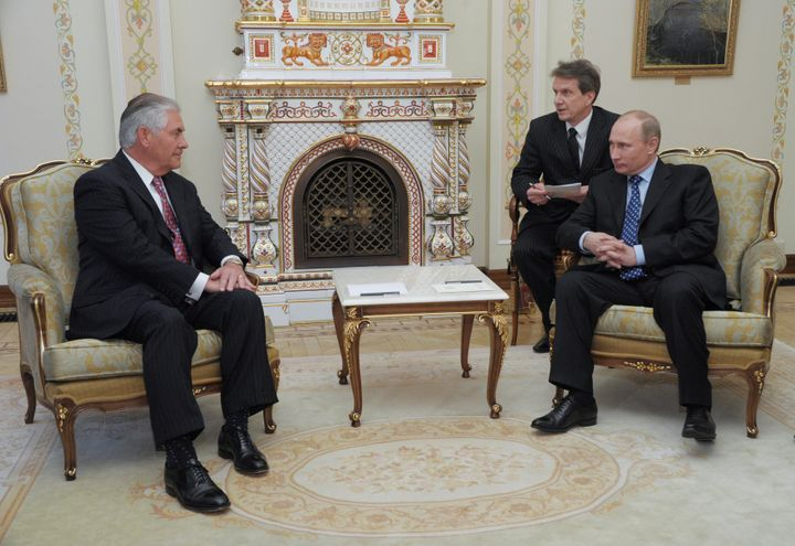 Then Russian Prime Minister Vladimir Putin and Exxon Mobil Chief Executive Rex Tillerson, Trump's secretary of state pick, me