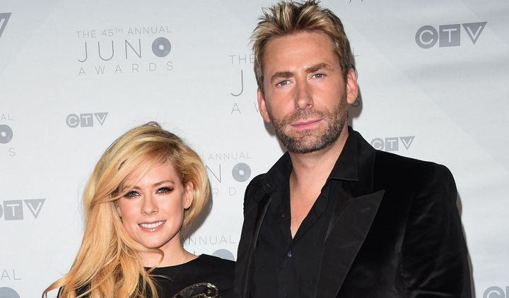 Avril Lavigne and Chad Kroeger arrive at the Juno Awards on April 3, 2016 in Calgary, Canada.