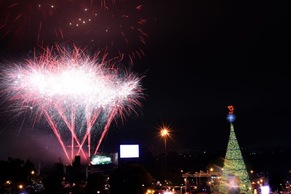 Fireworks light up the sky at the unveiling ceremony for a Christmas tree in Guatemala City on November 14, 2015.