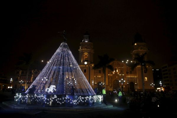 Christmas decorations are seen in front of the Cathedral of Lima on December 7, 2015.