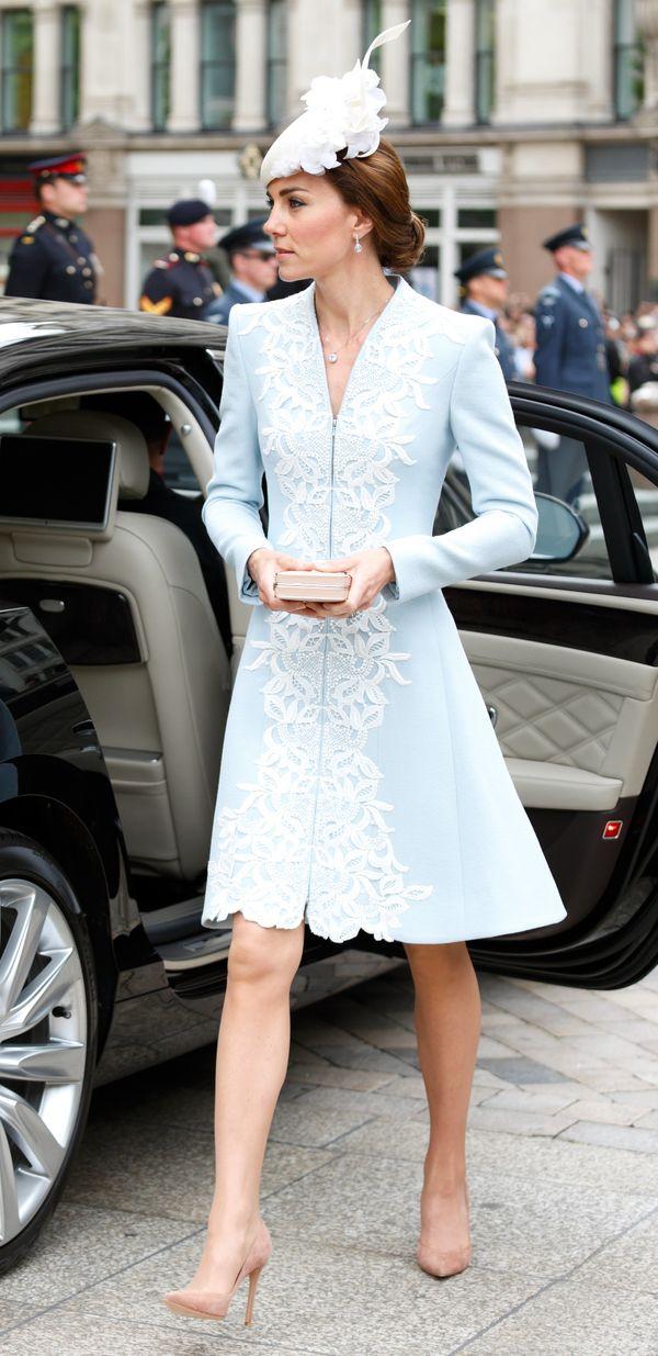 Wearing Catherine Walkerin June in London.