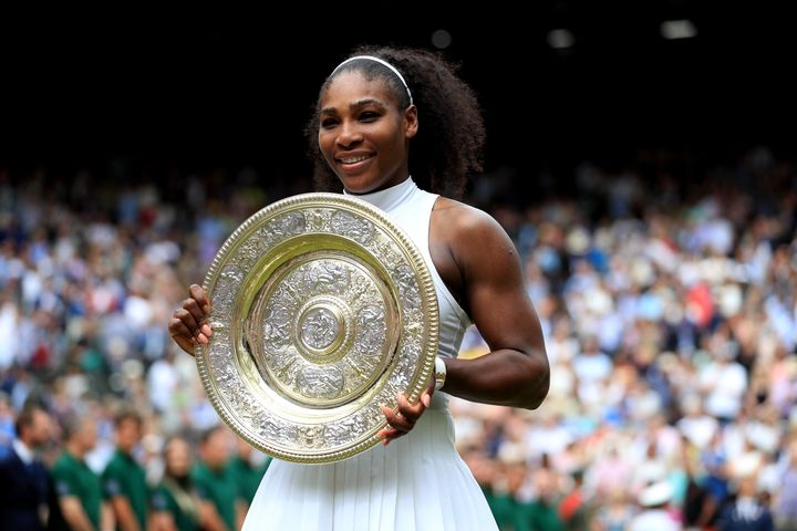 Serena Williams celebrates her victory over Angelique Kerber, July 9, 2016.