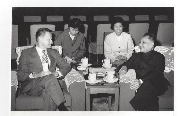 Then-U.S. National Security Adviser Zbigniew Brzezinski with former Chinese leader Deng Xiaoping in Beijing in 1979