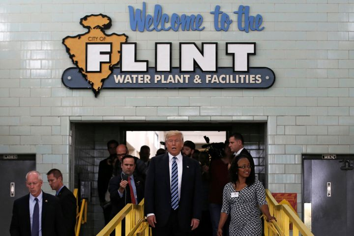 President-elect Donald Trump toured the Flint water plant in September. Advocates are skeptical about what a Trump presidency