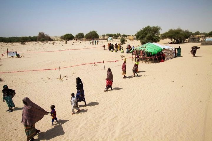 "Refugees stranded in the ""red zone"" near Chad's border with Niger."