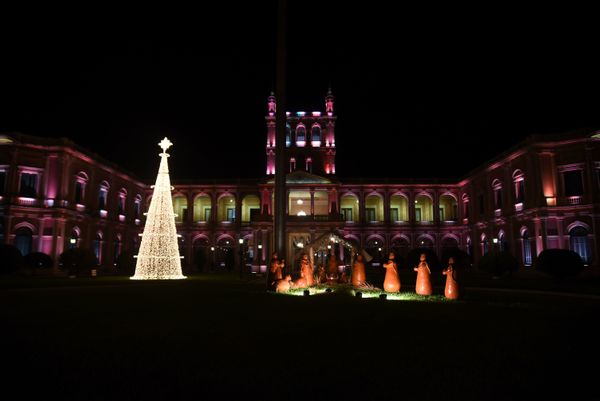 An eco-friendly Christmas tree is set up in front of the presidential palace in Asunción on December 22, 2013.