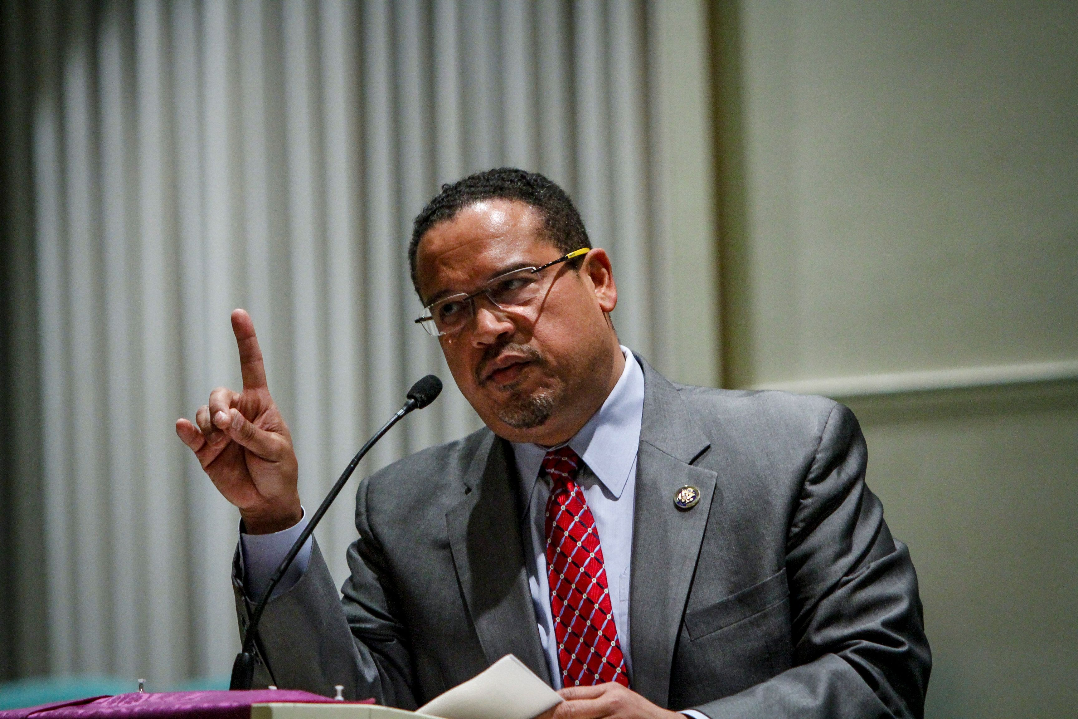 Rep. Keith Ellison (D-Minn.) campaigned for Democratic National Committee chair in Detroit Thursday and spoke about the