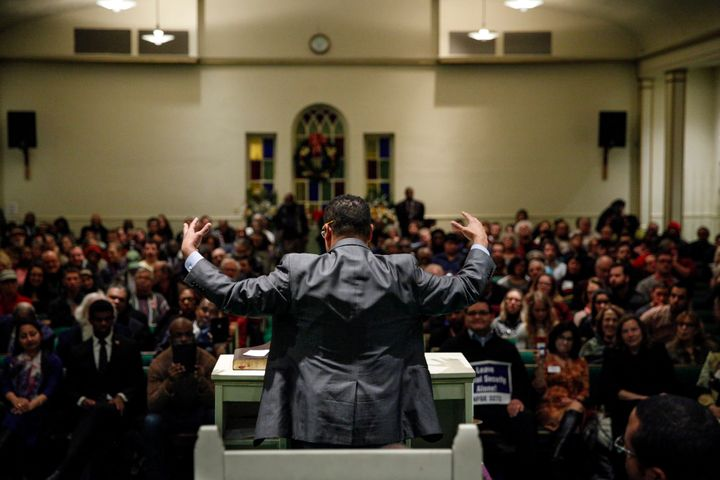Ellison found a particularly supportive crowd Thursday when he spoke at the Church of the New Covenant-Baptist in D