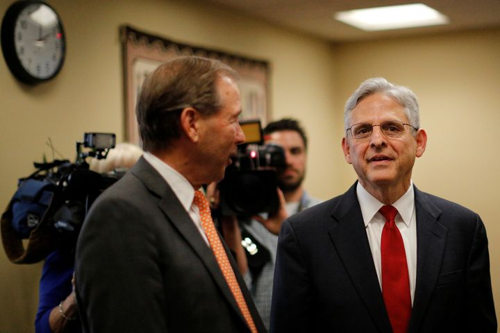 Merrick Garland, right, is seen with Sen. Tom Udall (D-N.M.) in Washington, D.C., May 18, 2016. Udall supports Garland's