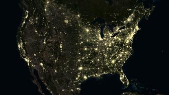 United States at night in 2012. This satellite image shows urban and industrial lights.