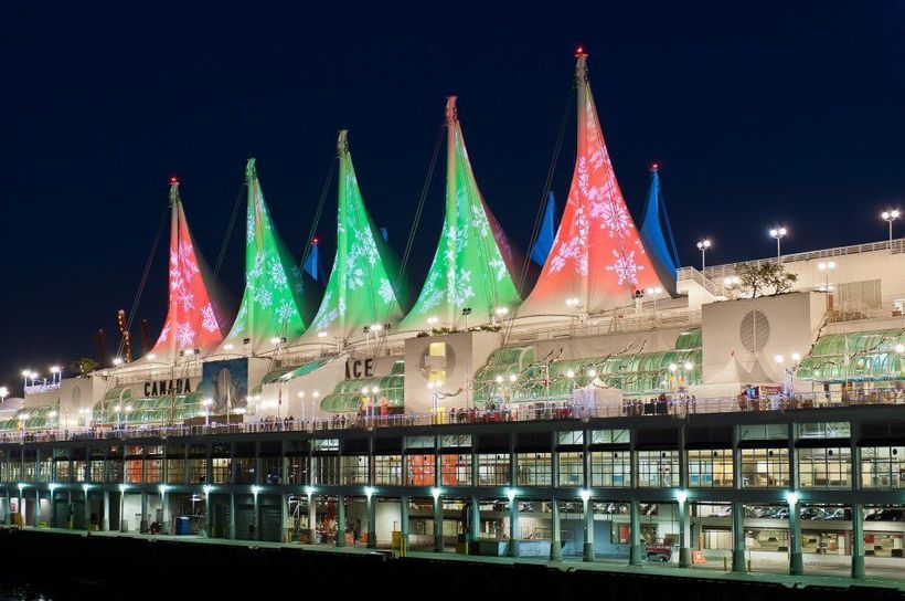The Sails of Light at Canada Place are lit up for the holidays.