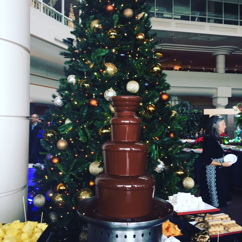 The chocolate fountain at the Pan Pacific's Santa's Sunday Brunch is a huge hit with kids and adults.