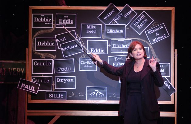 Carrie Fisher performing during a dress rehearsal of her one-woman play