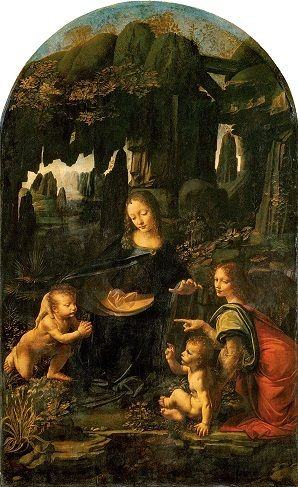Uriel, right, in the Virgin of the Rocks (Louvre version)