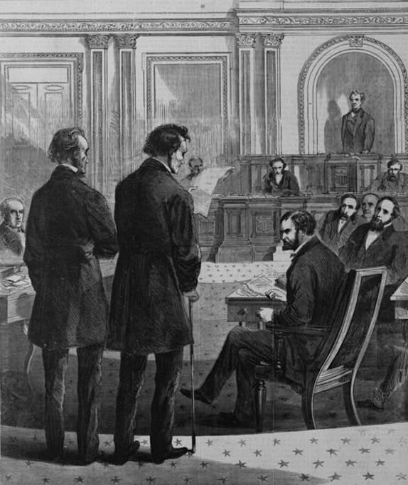 """Pictured in this sketch from 1868, entitled """"Impeachment"""" by Theodore R. Davis,  are congressmen Thaddeus Stevens and John A."""