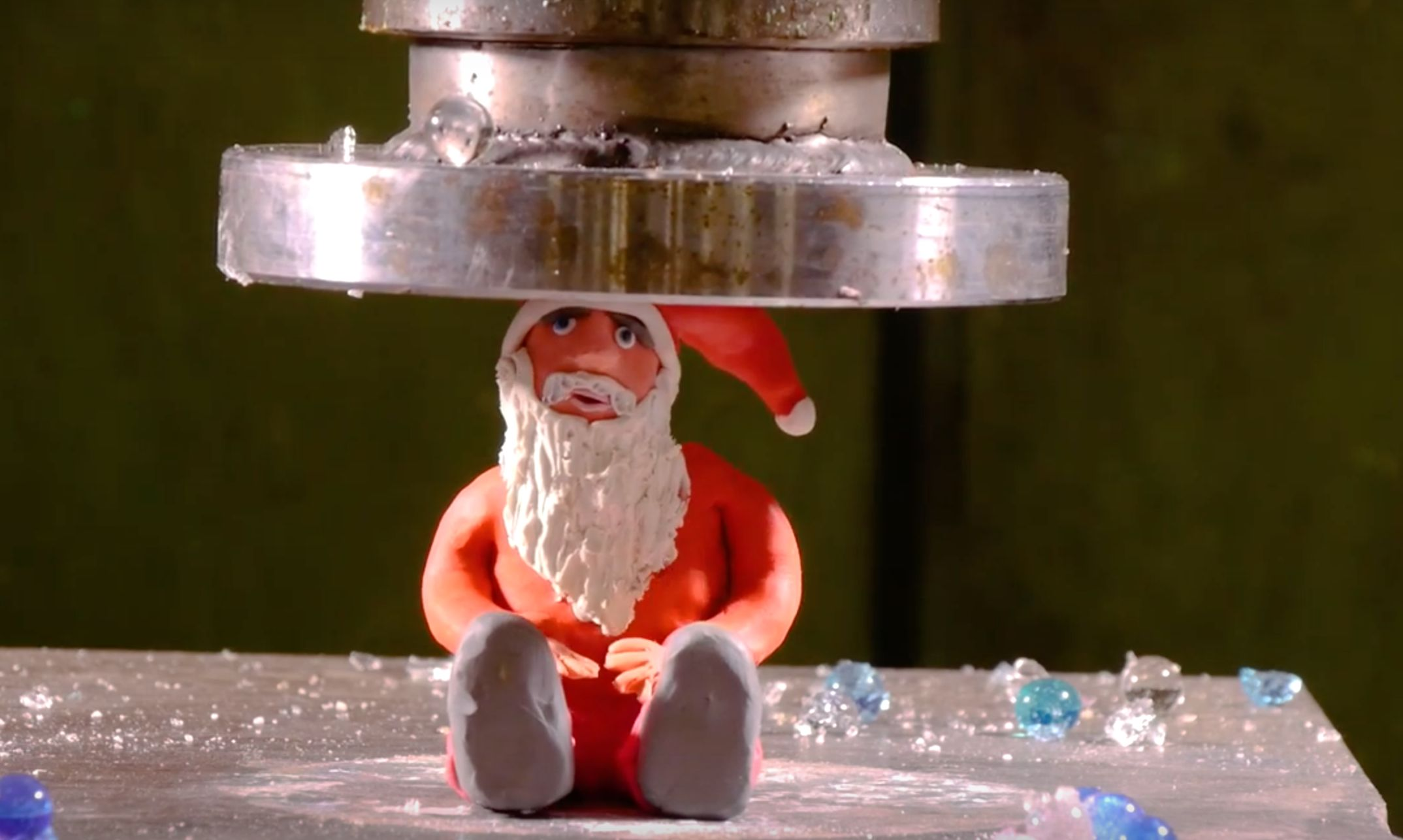 Hydraulic Press Crushes Every Ounce Of Cheer Out Of The