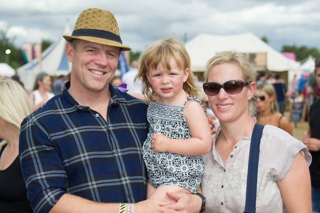 Mike and Zara Tindall with daughter Mia seen at The Big Feastival, Kingham. , Sunday August