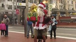 Christmas Cheer Is Unicycle Santa Playing 'Ode To Joy' On Flaming