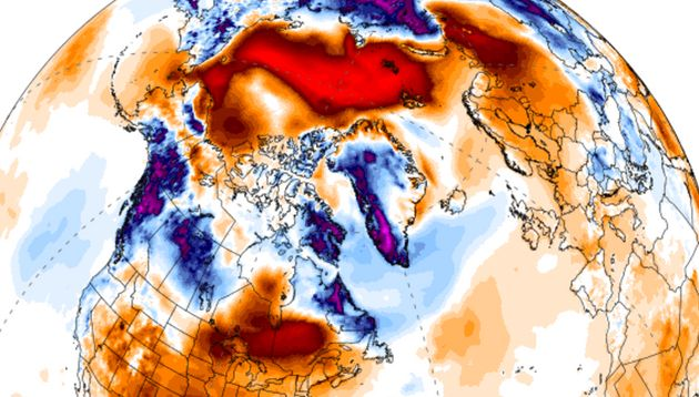 The red colour on top of the Arctic region represents a 20 degrees Celsius temperature anomaly on 24...