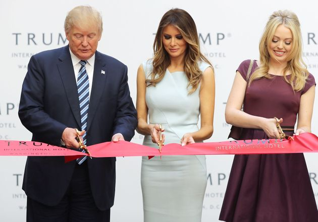 President-elect Donald Trump, Melania Trump and his daughter Tiffany Trump cut the ribbon at the...
