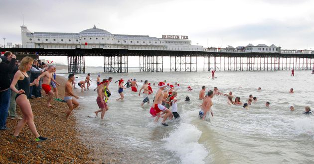 The dash into the sea is a notable Christmas tradition but this year is under
