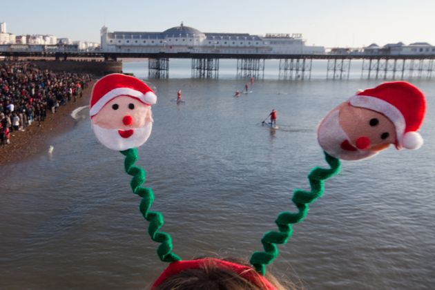 Birds eye view of the traditional Christmas Day swim at Brighton