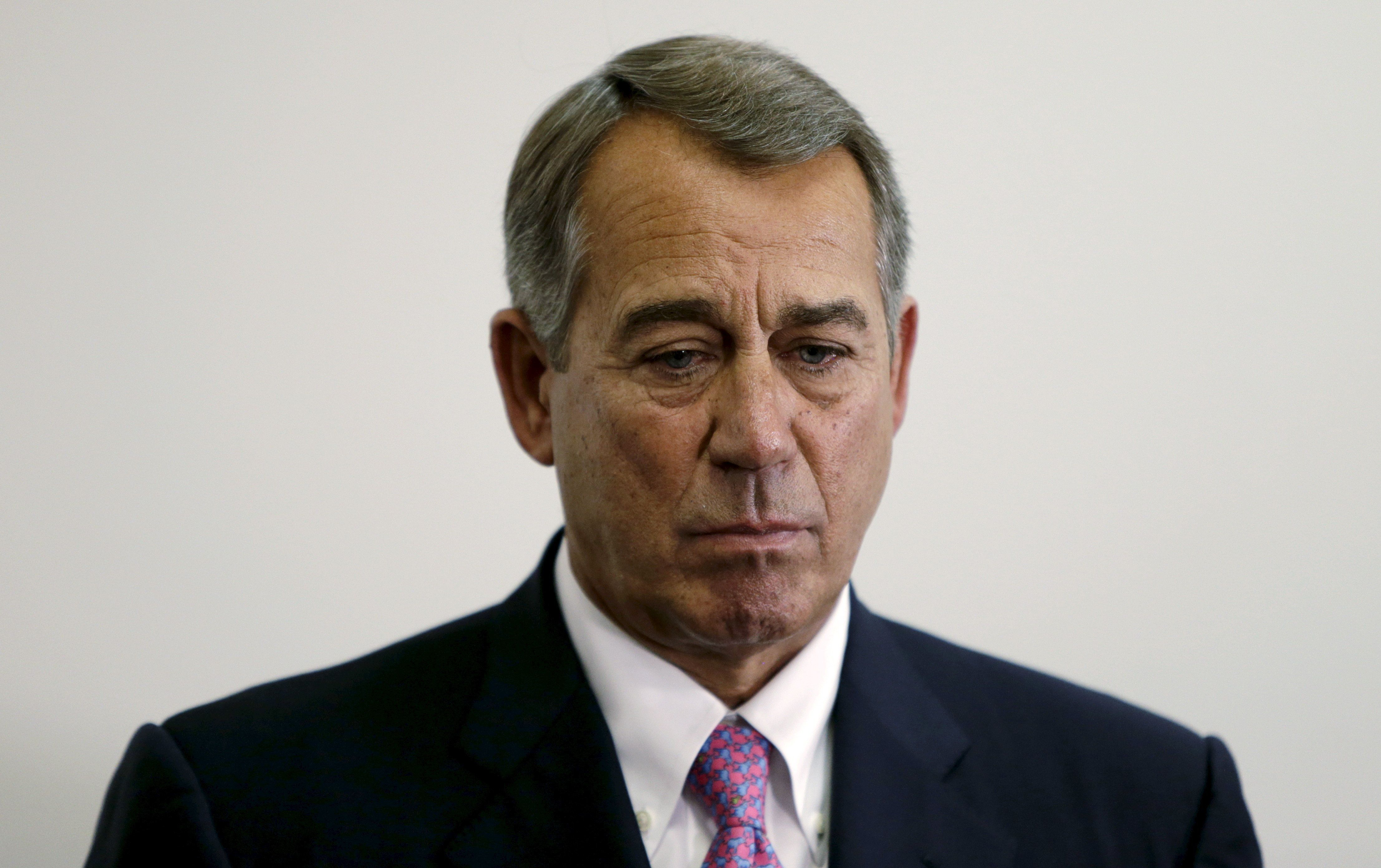 "Outgoing Speaker of the House John Boehner (R-OH) listens to accolades during a news conference on the two-year budget deal with the White House in Washington, October 27, 2015. A two-year budget deal negotiated by the White House and U.S. congressional leaders will be rushed to the floor of the House of Representatives on Wednesday as lawmakers try to pass controversial measures before House Speaker John Boehner retires on Friday. ""We have a budget agreement,"" Boehner said Tuesday. "" He said he wanted to clear the decks for Rep. Paul Ryan who is expected to become the next Speaker of the House. ""As I made it clear a month ago when I announced that I was leaving that I wanted to do my best to clean the barn. I didn't want him to walk into a dirty barn full of you know what,"" Boehner said. REUTERS/Gary Cameron"