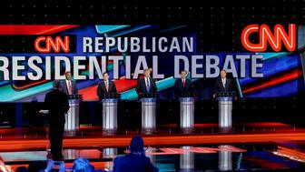 From left, Republican presidential candidates, retired neurosurgeon Ben Carson, Sen. Marco Rubio, R-Fla., businessman Donald Trump, Sen. Ted Cruz, R-Texas, and Ohio Gov. John Kasich participate in a Republican presidential primary debate at The University of Houston, Thursday, Feb. 25, 2016, in Houston. (AP Photo/David J. Phillip)