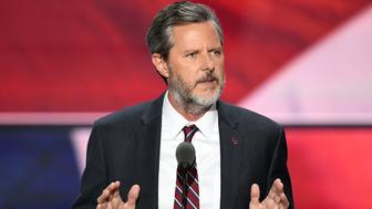 The President of Liberty University, Jerry Falwell, Jr., speaks on the last day of the Republican National Convention on July 21, 2016, in Cleveland, Ohio. / AFP / Jim WATSON        (Photo credit should read JIM WATSON/AFP/Getty Images)