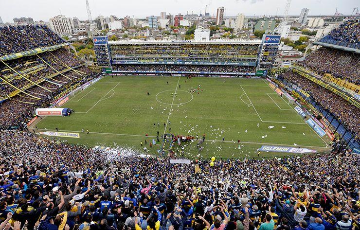The Alberto J. Armando Stadium, popularly known as the La Bombonera, a few minutes before the Superclassico kickoff