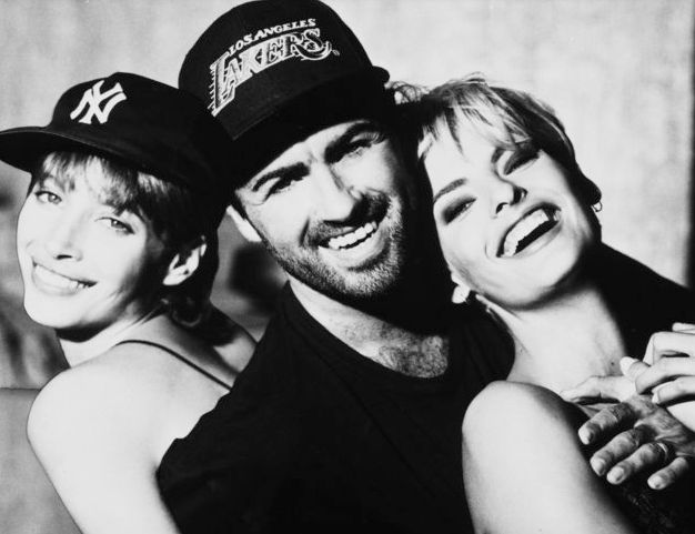 George Michael with Christy Turlington and Linda Evangelista, two of the supermodels he recruited for...
