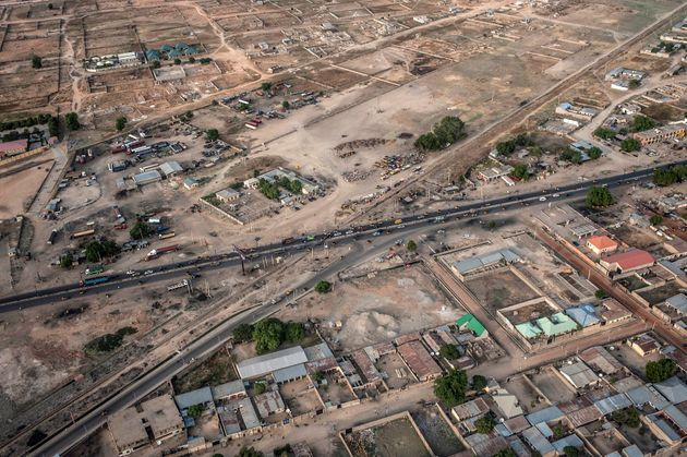 An aerial view taken on December 8, 2016 shows infrastructure and houses in Maiduguri, Borno State, northeastern