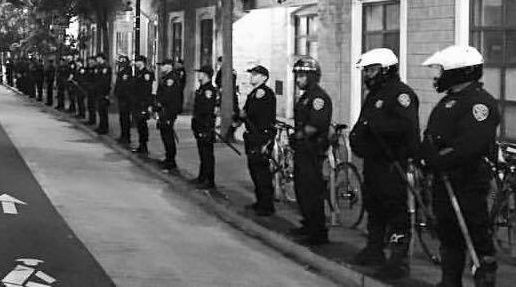 SFPD Officers in front of Mission Police Station during protest of Luis Demetrio Gongora Pat killing, April 7, 2016